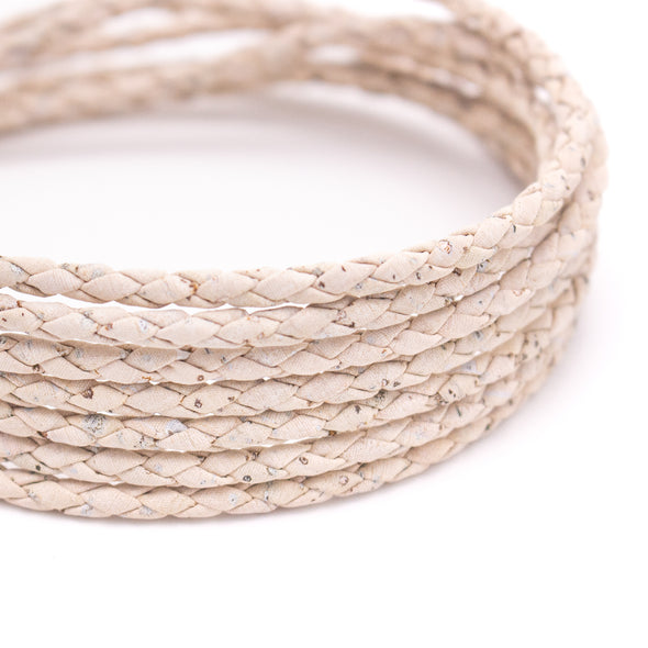 10 meters Natural cork 3mm Braided white round cork cord Cor-179