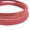 Rose Red 10mm flat cork cord COR-352(10meters)