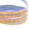 10 meters Natural cork & Denim 10mm flat cord COR-188