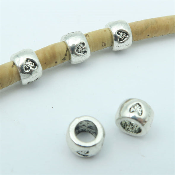 40pcs For 5mm leather antique silver zamak with love heart beads, Jewelry supply, Findings Components D-5-5-64