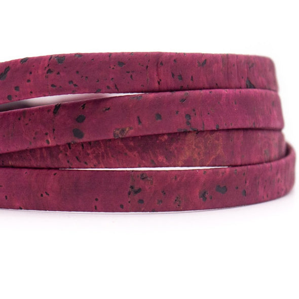 10 meters Wine Red 10mm flat cork cord COR-355