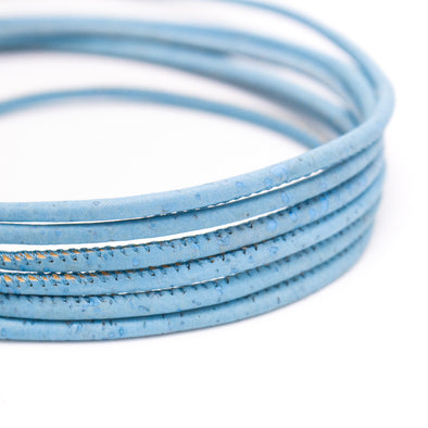 Blue 3mm round cork cord COR-152(10 meters)
