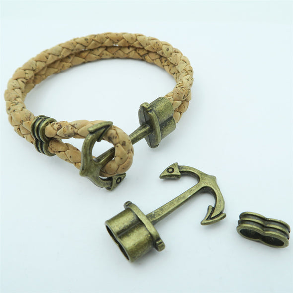 10 Sets for 5mm round leather clasp antique brass Anchor Hook Clasp Double 5mm Round Hole Bracelet Clasps D-6-100
