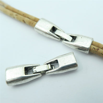 10 Units For 3mm leather clasp,  for 5mm flat antique silver snap clasp jewelry finding  D-6-102