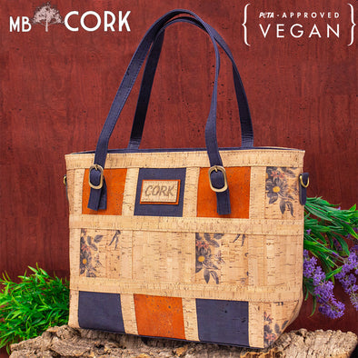 Patchwork fabric, cork ladies handbag BAG-625