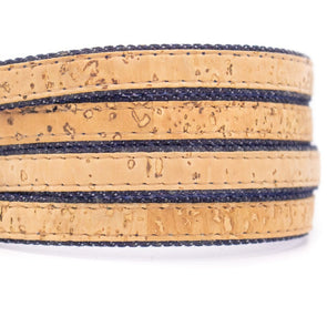 10 meters Natural cork with denim 10mm flat cord COR-206