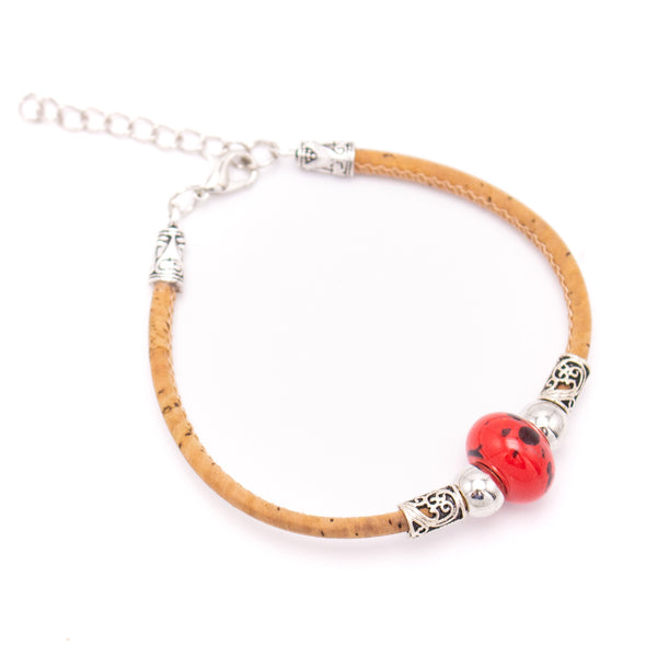 Natural 3mm round Cork with Colored porcelain beads handmade bracelet for women jewelry bracelet jewelry BR-446-MIX-12