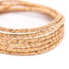 10meters Natural Cork 3mm Braided round cork cord Cor-147