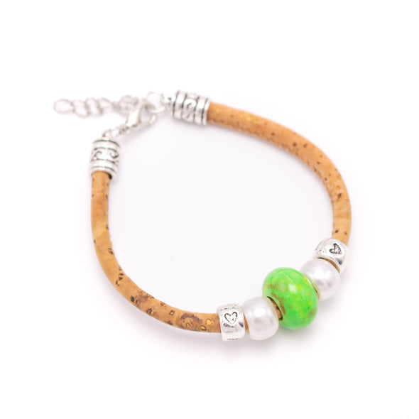Natural 5mm round Cork with Colored porcelain beads handmade women bracelet jewelry BR-448-MIX-12