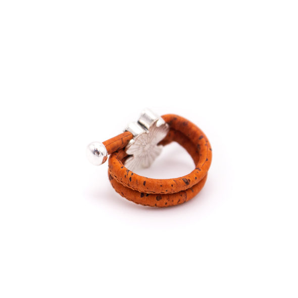 Colorful cork with Flower pendant Antique Silver vintage women Ring original adjustable wooden jewelry RW-014-10