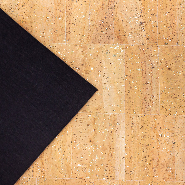 Tobacco brown with sliver- Portuguese cork fabric COF-337
