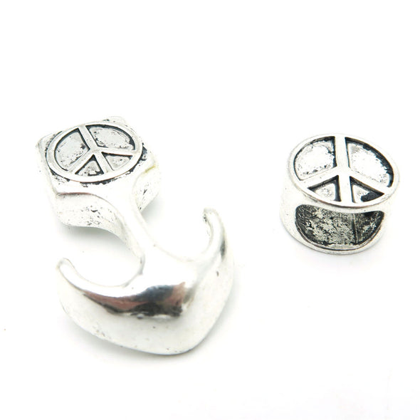 10pcs Peace symbol hook clasp for 5mm leather, Antique silver, jewelry finding supply D-6-104
