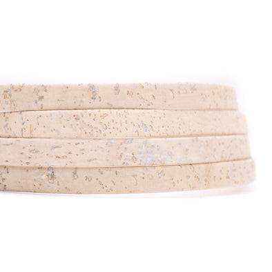 White cork 10mm flat cord  COR-321(10meters)