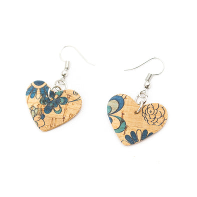 Printed heart- Original handmade ladies earrings-ER-072-C