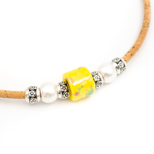 Natural cork and yellow porcelain bead necklace Original handmade woman bracelet N-187