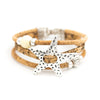 Natural Cork with starfish bracelet Original handmade woman  Bracelet BR-415-MIX-6