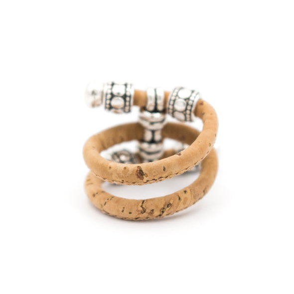 Colorful cork Antique beads vintage women cork Ring original adjustable handmade wooden vegan jewelry HR-004-MIX-10