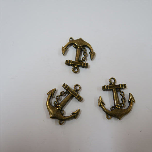 10 units antique Bronze anchor pendant charms jewelry finding suppliers D-3-157