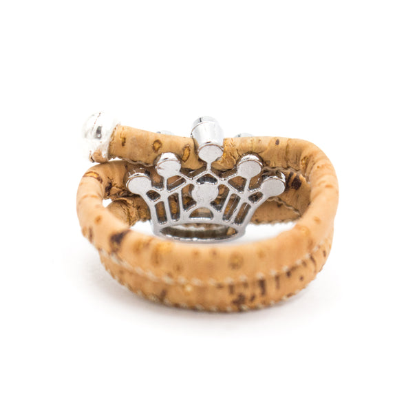 Natural cork handmade Rhinestones imperial crown Ring  R-093