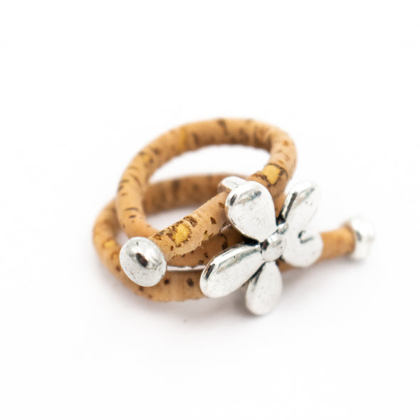 Natural Cork and Flower Accessories Ring, Original Handmade women Ring R-694-MIX-10