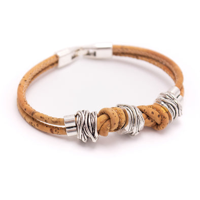 Natural cork knotted vegan handmade jewelry BR-220-A-5