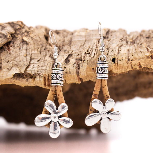 From Portugal cork earrings antique sliver small flower women earrings handmade lady original dangle earrings ER-027