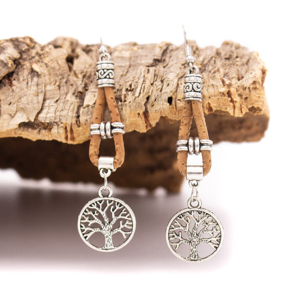 MB Cork tree of life cork earrings handmade original high quality fashion women dangle earrings Er-002