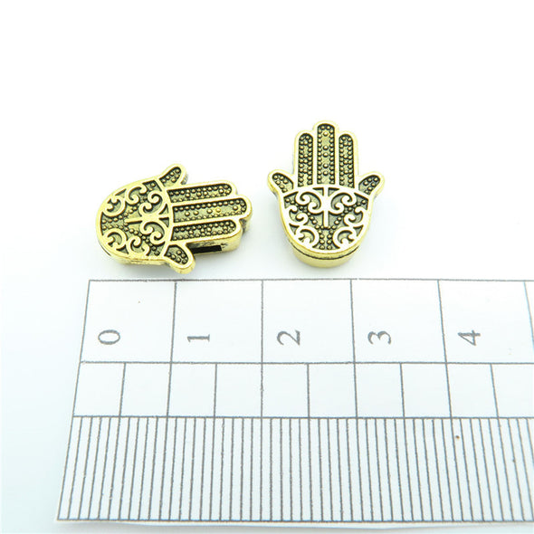 10 Pcs for 10mm flat leather,Antique Gold Fatima Hand jewelry supplies jewelry finding D-1-10-59