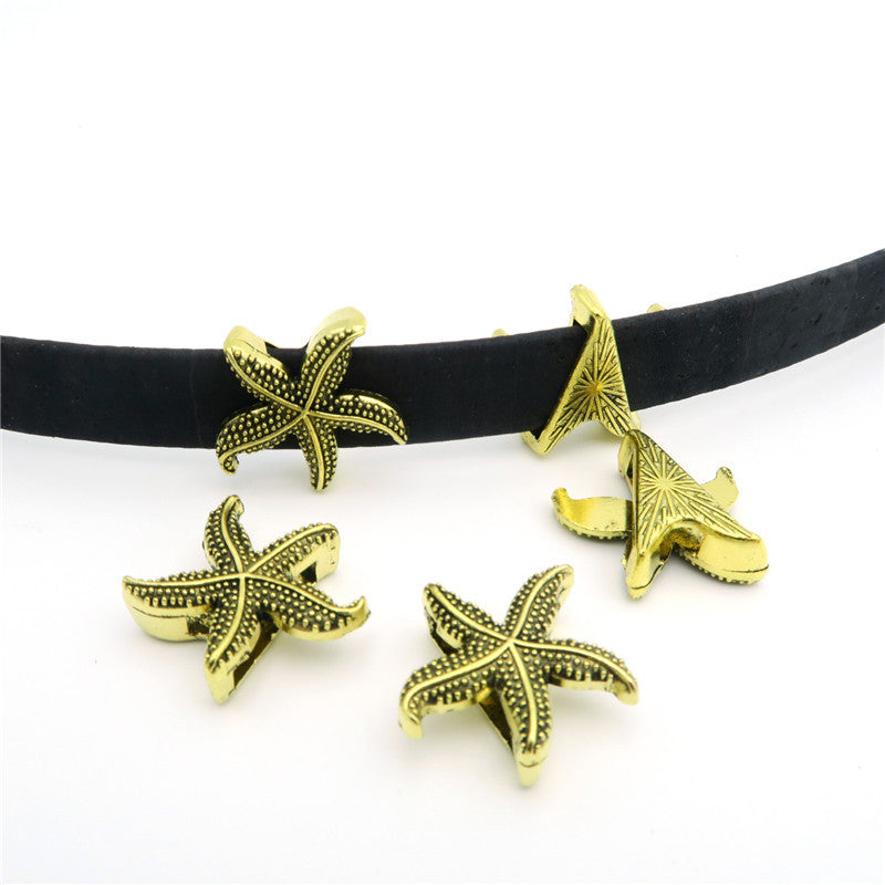 10 Pcs for 10mm flat leather,Antique Gold Sea star jewelry supplies jewelry finding D-1-10-63