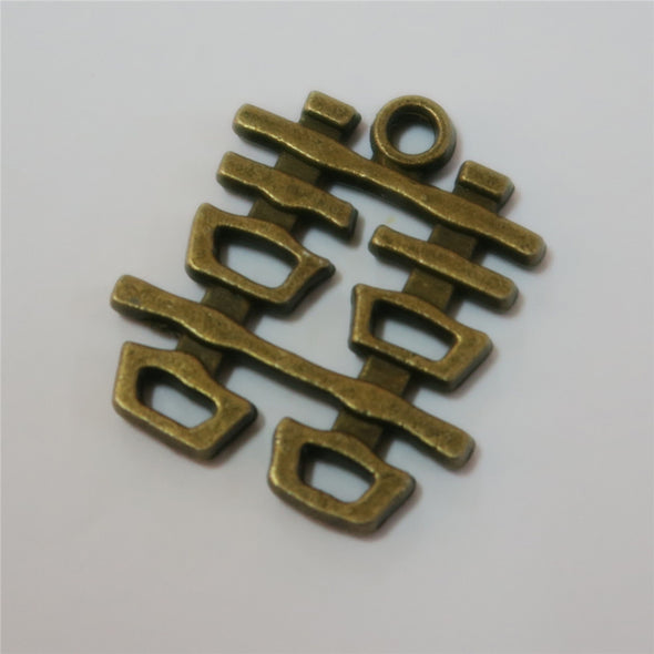 10 Pcs Antique Brass DOUBLE luck happy in Chinese jewelry supplies jewelry finding D-3-218