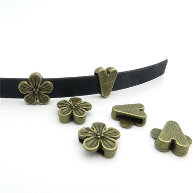 10 Pcs for 10mm flat leather,Antique Brass Flower jewelry supplies jewelry finding D-1-10-65