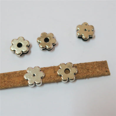 20 Pcs for 10mm flat leather, Antique sliver flower jewelry supplies jewelry finding D-1-10-156