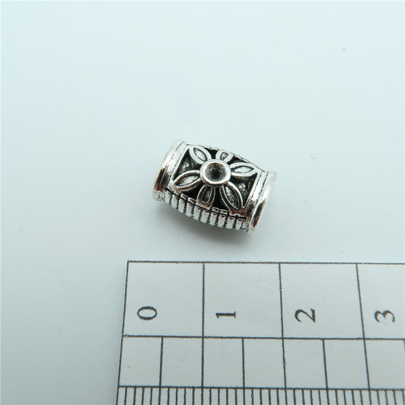 20 Pcs for 5mm round leather Antique Silver Flower draw bead jewelry supplies jewelry finding D-5-5-14
