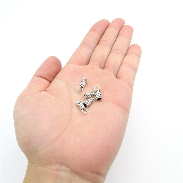 100Pcs for 3mm round leather ends clasp, antique silver, jewelry supplies jewelry finding D-6-7