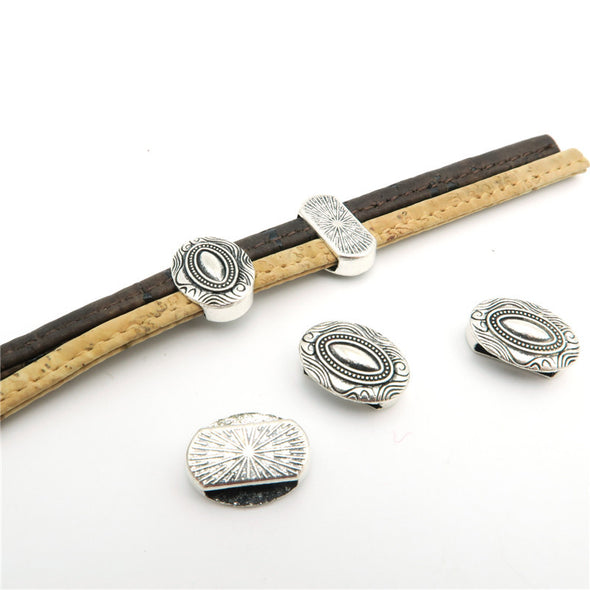 10 Pcs for 10mm flat leather,Antique Silver Round jewelry supplies jewelry finding D-1-10-86