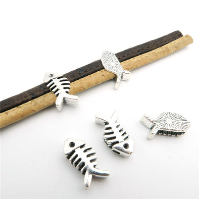 10 Pcs for 10mm flat leather,Antique Silver Fish beads jewelry supplies jewelry finding D-1-10-87