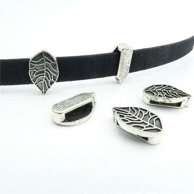 10 Pcs for 10mm flat leather, Antique Silver leaf  beads jewelry supplies jewelry finding D-1-10-89