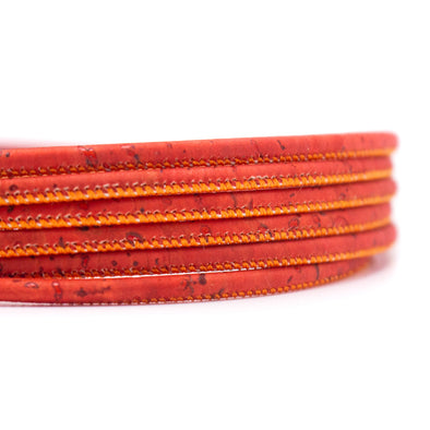 10 meters Red-Orange 3mm round cork cord COR-573