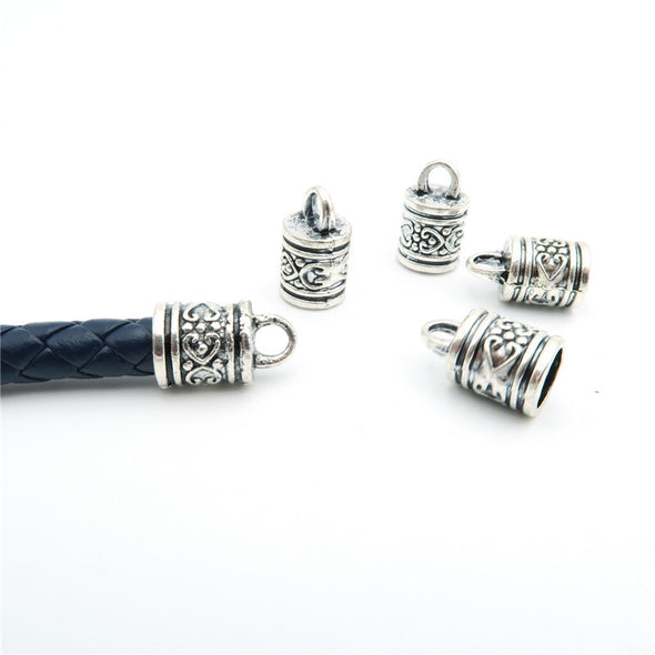 10Pcs for 7mm round leather ends clasp, antique silver, jewelry supplies jewelry finding D-6-5