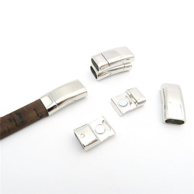 5Pcs for 10*5mm Flat/round leather magnet clasp, Antique Silver jewelry supplies jewelry finding D-6-15