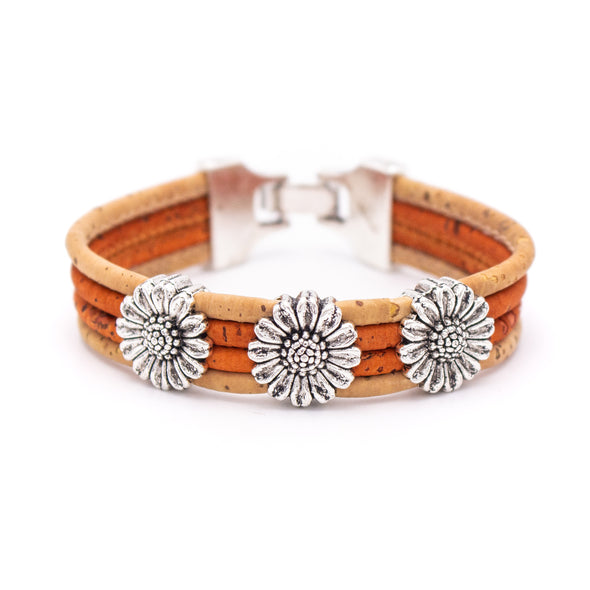 Chrysanthemum cork bracelet colorful BRW-014-MIX-5(new color)