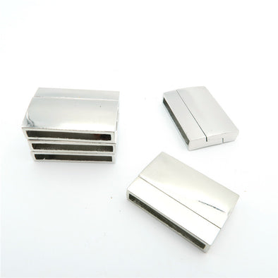 5Pcs for 25*3mm Flat leather magnet clasp, Antique Silver jewelry supplies jewelry finding D-6-17