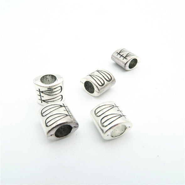 20 Pcs for 5mm round leather Antique Silver draw beads jewelry supplies jewelry finding D-5-5-7