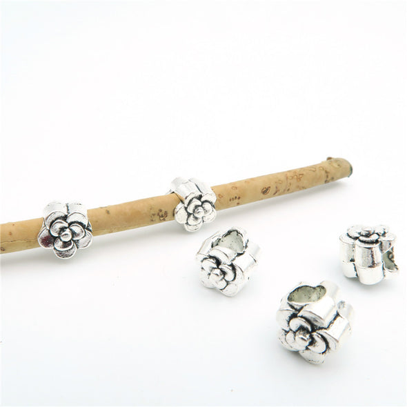 20 Pcs for 5mm round leather Antique Silver Rose beads jewelry supplies jewelry finding D-5-5-9