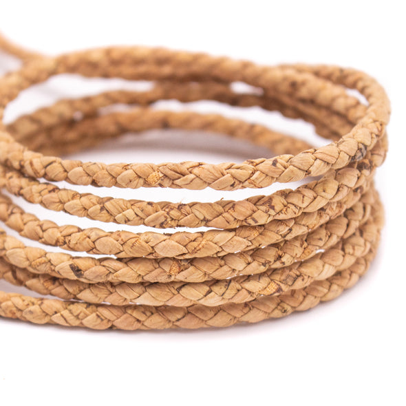 10Meter 5mm Round Natural cork Braided cork cord  COR-124