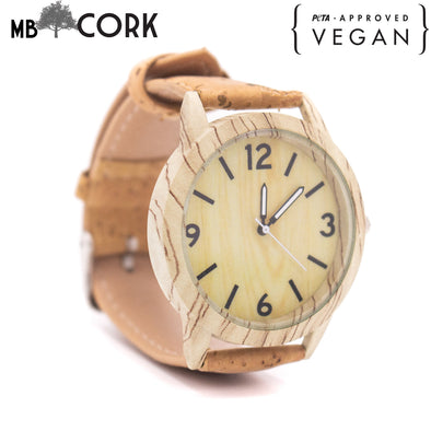 Beige and natural watch with cork strap WA-100-A