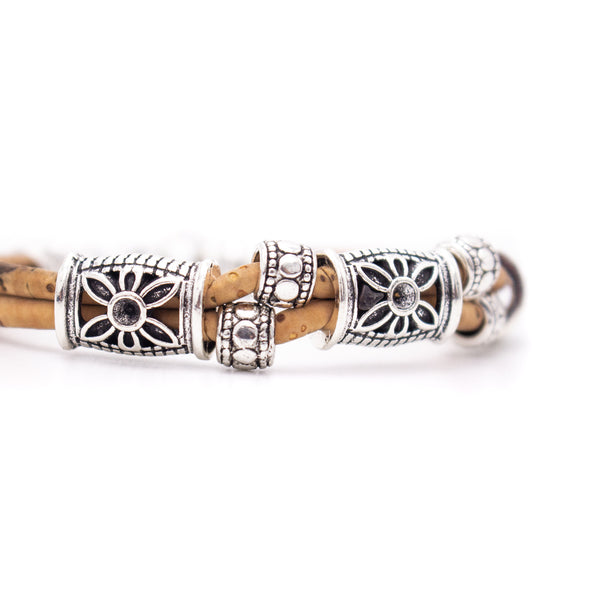 Natural cork antique silver flower beads bracelet women handmade wood jewelry from Portugal Brw-019