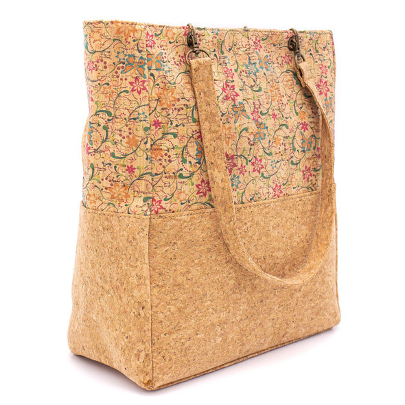 Basic cork with parrten fabric women handbag bag  L 23 x H 20.5 x D 10 cm  -BAG-616