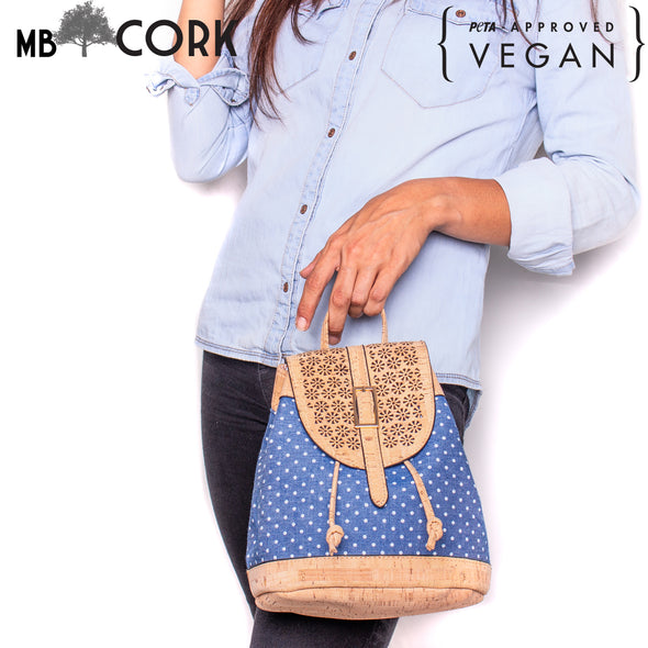 Cork laser cutting cork with Blue Textile women backpack OY-005-Radom