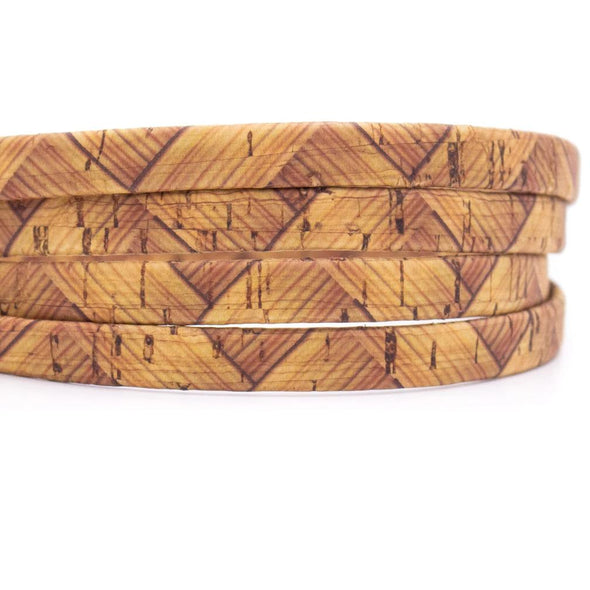 10meter 10mm flat Color printed cork line cork cord COR-405